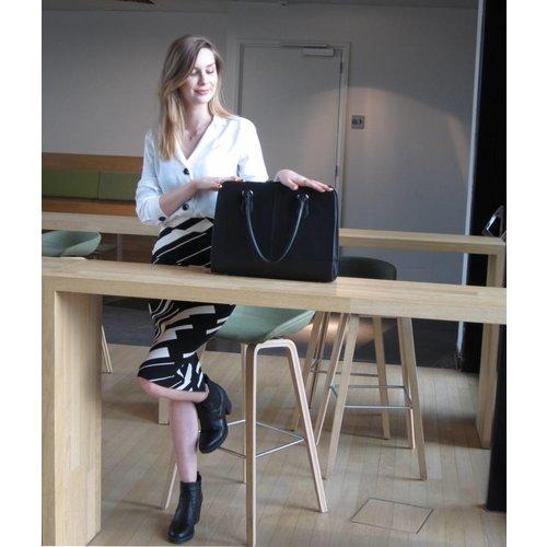 Su.B 15,6 Zoll Laptoptasche mit Trolleyband fuer Damen - Spaltleder - Aktentasche, Laptop Handtasche, Umhaengetasche - Schwarz