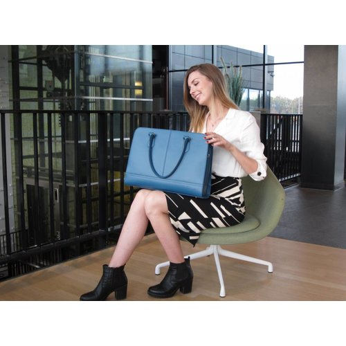 Su.B 15.6 Inch Laptop Bag with Trolley Strap for Women | Split Leather | Briefcase, Handbag, Messenger Bag | Made in Italy | Turquoise