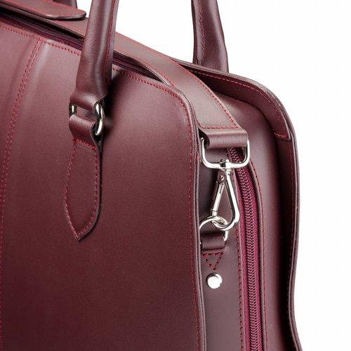 Su.B 15,6 Zoll Laptoptasche ohne Trolleyband fuer Damen - Spaltleder - Aktentasche, Laptop Handtasche, Umhaengetasche - Bordeaux Rot