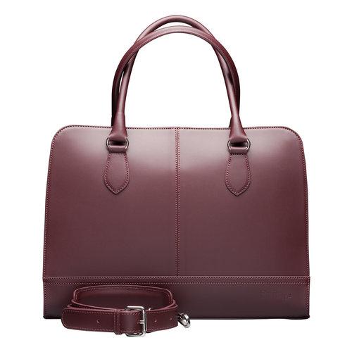 Su.B 15.6 Inch Laptop Bag without Trolley Strap for Women - Split Leather - Briefcase, Handbag, Messenger Bag - Bordeaux Red