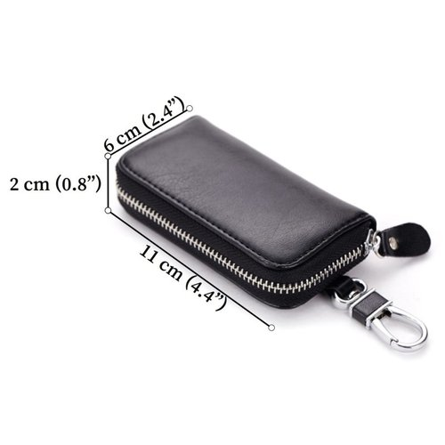 Su.B Genuine Leather Key Case Key Holder - 6 hooks, 2 Long Car  Key Chain, 2 Cards Notes Wallet - Black
