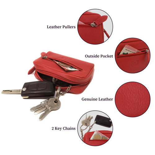 Su.B Coin-Purses Pouch Key Wallet | Change Holder with Zipper Card Pocket | Genuine Leather | Red