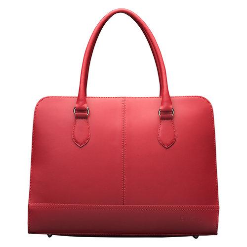 Su.B Laptoptas 13 inch - Dames Handtassen - Dames Schoudertas met Laptopvak - Leren Aktetassen - Wijn Rood