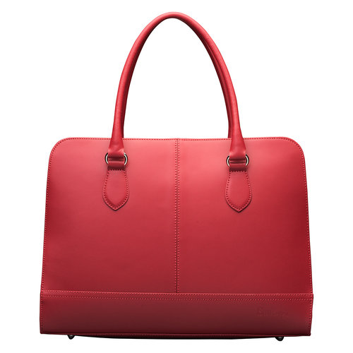 Su.B 15.6 Inch Laptop Bag without Trolley Strap for Women - Split Leather - Briefcase, Handbag, Messenger Bag - Wine Red