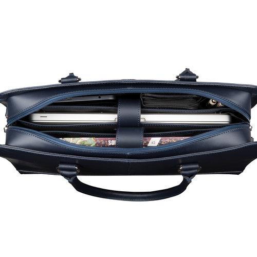 Su.B 13 Inch Laptop Bag without Trolley Strap for Women - Leather Briefcase, Handbag, Messenger Bag - Dark Blue