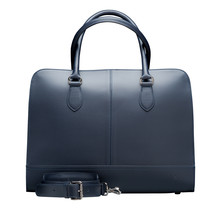 15.6 Inch Laptop Bag without Trolley Strap for Women - Leather Briefcase, Handbag, Messenger Bag - Dark Blue