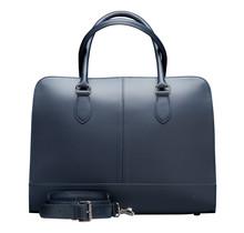 15,6 Zoll Leder Laptoptasche für Damen - Umhängetasche, Handtasche, Aktentasche - Dunkelblau