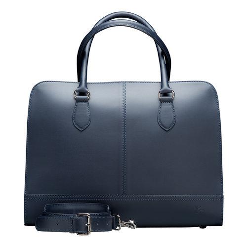 Su.B 15,6 Zoll Laptoptasche ohne Trolleyband fuer Damen - Spaltleder - Aktentasche, Laptop Handtasche, Umhaengetasche - Made in Italy - Dunkelblau