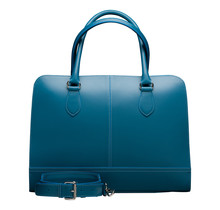 13 Inch Laptop Bag without Trolley Strap for Women - Leather Briefcase, Handbag, Messenger Bag - Turquoise