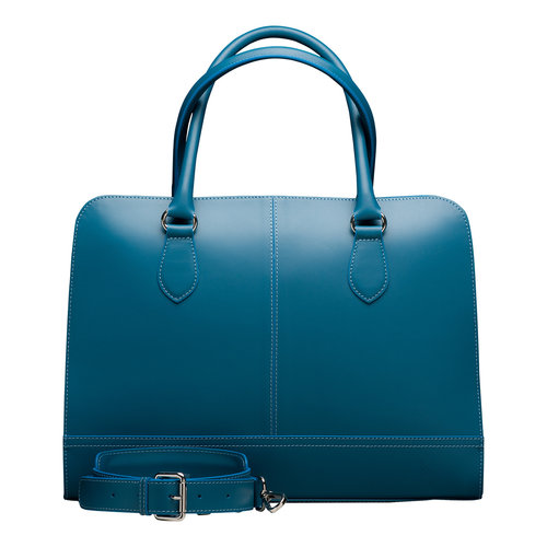 Su.B Zakelijke Dames Laptoptas | 13,3 inch Aktetas Computertas zonder Trolleyriem  | Split leer | Made in Italy | Turkoois / Teal