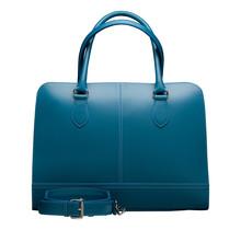 15,6 Zoll Leder Laptoptasche für Damen - Umhängetasche, Handtasche, Aktentasche - Türkis