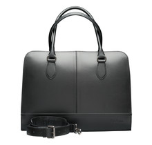 Laptoptas 13 inch - Dames Handtassen - Dames Schoudertas met Laptopvak - Leren Aktetassen - Zwart