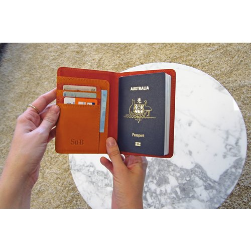 Su.B Designer RFID Blocking Passport Cover Luxurious Leather Holder - Travel Ticket or Cards Wallet for Men and Women - Red & Orange