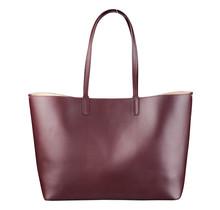 Leder Shopper für Damen - Umhängetasche, Einkaufstasche - Handtasche - Bordeaux Rot