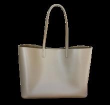 Leder Shopper für Damen - Umhängetasche, Einkaufstasche - Handtasche - Beige