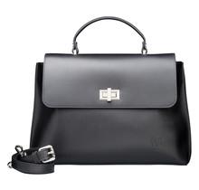 Leder Handtasche für Damen - Umhängetasche - mit Schulterriemen - Schwarz