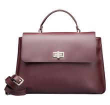 Designer Handbag for Women - Ladies Leather Purse with Shoulder Strap - Bordeaux Red