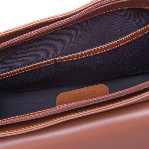 Su.B Damen Leder Handtasche mit Schulterriemen - Made in Italy - Braun