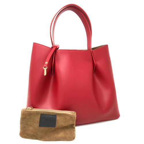 Su.B Luxurious Tote Bag - Leather Handbag Shopper - Made in Italy - Red