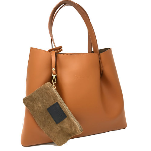 Su.B Damen Luxus Shopper Tragetasche Schultertasche Spaltleder Handtasche | Made in Italy | Braun
