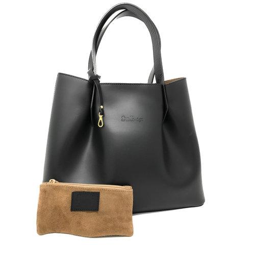 Su.B Damen Luxus Shopper Tragetasche Schultertasche - Spaltleder Handtasche - Schwarz