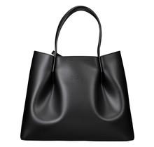 Leder Shopper für Damen Klein - Umhängetasche, Einkaufstasche - Handtasche - Schwarz