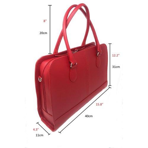 Su.B 13,3 Zoll Laptoptasche ohne Trolleyband fuer Damen - Spaltleder - Aktentasche, Laptop Handtasche, Umhaengetasche - Made in Italy - Weinrot