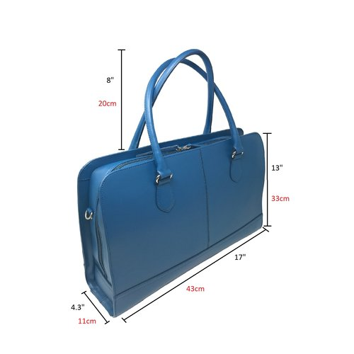 Su.B 15.6 Inch Laptop Bag without Trolley Strap for Women - Split Leather - Briefcase, Handbag, Messenger Bag - Made in Italy - Turquoise