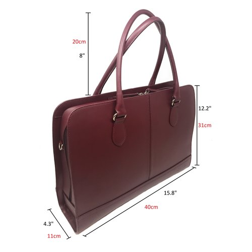 Su.B 13.3 Inch Laptop Bag without Trolley Strap for Women - Split Leather - Briefcase, Handbag, Messenger Bag - Made in Italy - Bordeaux Red