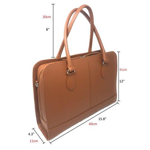 Su.B 13,3 Zoll Laptoptasche ohne Trolleyband fuer Damen - Spaltleder - Aktentasche, Laptop Handtasche, Umhaengetasche - Made in Italy - Braun