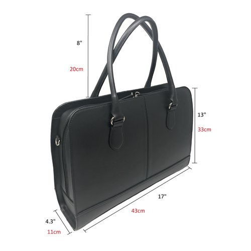 Su.B 15.6 Inch Laptop Bag without Trolley Strap for Women - Split Leather - Briefcase, Handbag, Messenger Bag - Made in Italy - Black