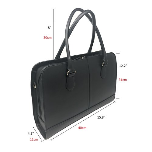 Su.B 13 Inch Laptop Bag without Trolley Strap for Women - Leather Briefcase, Handbag, Messenger Bag - Black