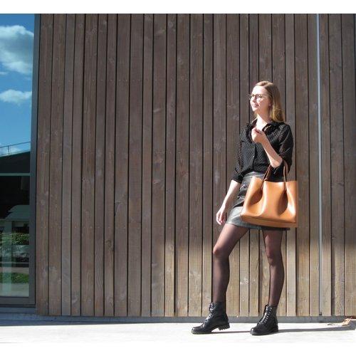 Su.B Leder Shopper für Damen Klein - Umhängetasche, Einkaufstasche - Handtasche - Braun