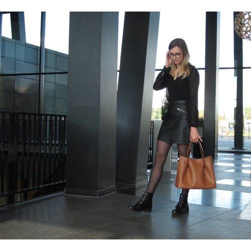 Su.B Dames Luxe Shopper | Draagtas Schoudertas | Handtas | Splitleer | Made in Italy | Bruin