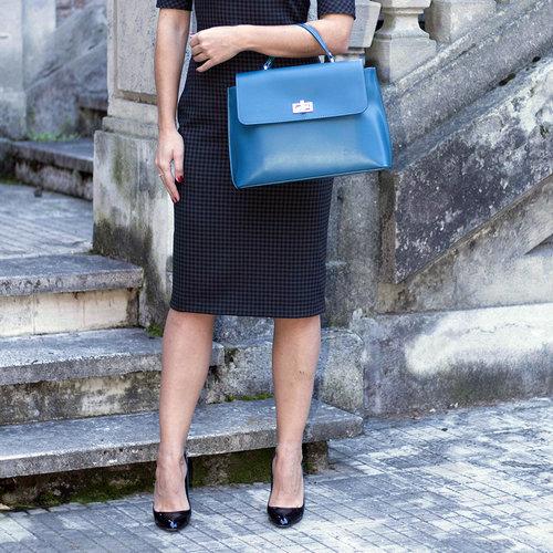 Su.B Damen Leder Handtasche mit Schulterriemen - Made in Italy - Tuerkis