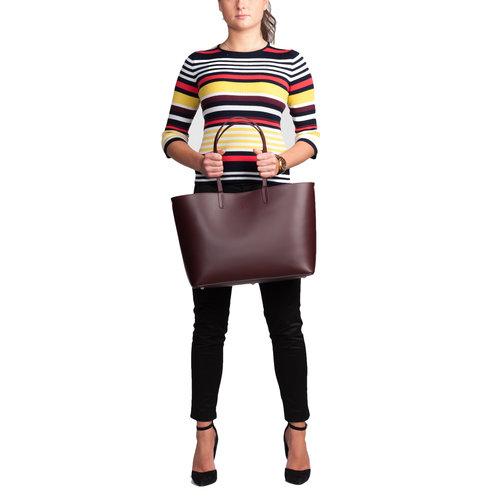 Su.B Damen Luxus Shopper Tragetasche Schultertasche Spaltleder Handtasche mit viel Stauraum | Bordeaux Rot
