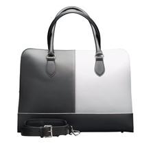 15,6 Zoll Laptoptasche Fuer Damen - Spaltleder - Professionelle Designer Aktentasche, Handtasche, Schultertasche - Made in Italy - Schwarz & Weiss