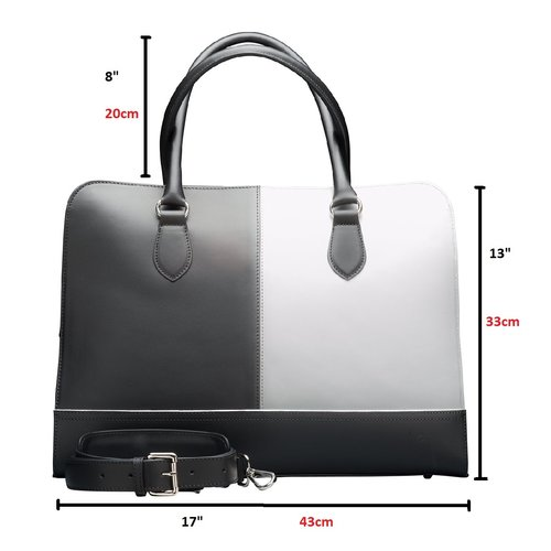 Su.B 15.6 Inch Laptop Bag without Trolley Strap for Women - Split Leather - Briefcase, Handbag, Messenger Bag - Black & White