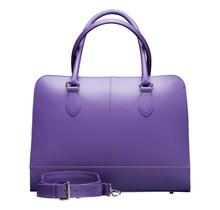 13.3 Inch Laptop Bag without Trolley Strap for Women - Split Leather - Briefcase, Handbag, Messenger Bag - Violet