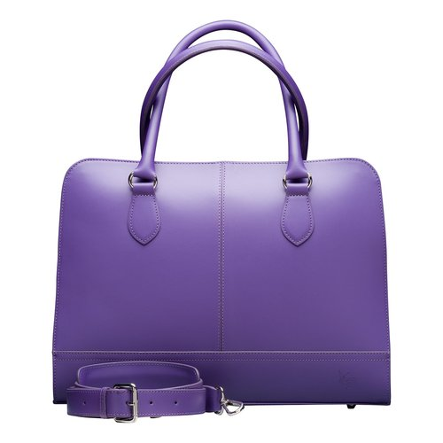 Su.B 13.3 Inch Laptop Bag without Trolley Strap for Women - Split Leather - Briefcase, Handbag, Messenger Bag - Made in Italy - Violet