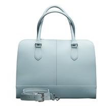 13.3 Inch Laptop Bag without Trolley Strap for Women - Split Leather - Briefcase, Handbag, Messenger Bag - Light Blue