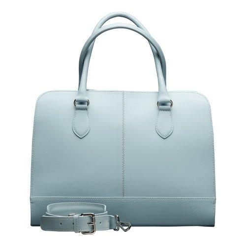 Su.B 13.3 Inch Laptop Bag without Trolley Strap for Women - Split Leather - Briefcase, Handbag, Messenger Bag - Light Blue