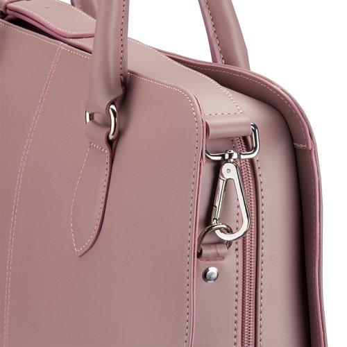Su.B 13,3 Zoll Laptoptasche Fuer Damen - Spaltleder - Designer Aktentasche, Handtasche, Schultertasche ohne Trolleyband - Made in Italy - Helles Lila