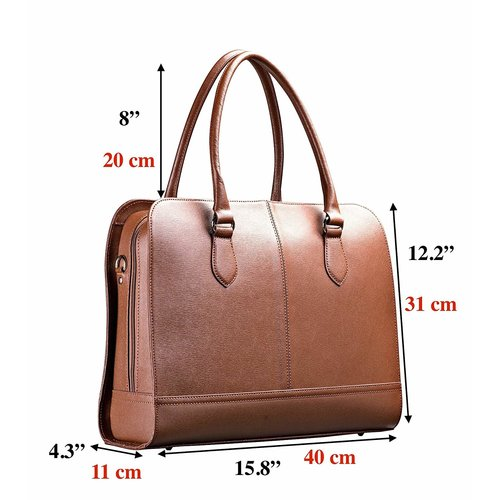 Su.B 13.3 Inch Laptop Bag without Trolley Strap for Women - SaffianoLeather - Briefcase, Handbag, Messenger Bag - Dark Brown