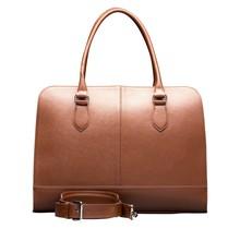 13,3 Zoll Laptoptasche Fuer Damen - Saffianoleder - Designer Aktentasche, Handtasche, Schultertasche ohne Trolleyband - Made in Italy - Dunkelbraun