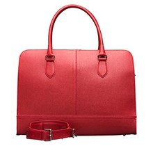 13.3 Inch Laptop Bag without Trolley Strap for Women - Saffiano Leather - Briefcase, Handbag, Messenger Bag - Rose Red