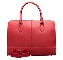 13,3 Zoll Laptoptasche Fuer Damen - Spaltleder - Designer Aktentasche, Handtasche, Schultertasche ohne Trolleyband - Made in Italy - Rose Rot