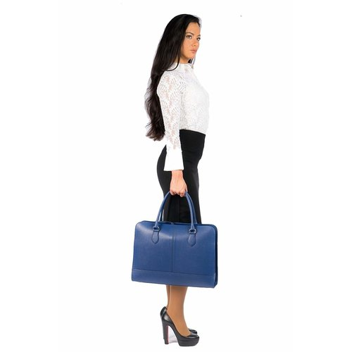 Su.B 15.6 Inch Laptop Bag without Trolley Strap for Women - Saffinao Leather - Briefcase, Handbag, Messenger Bag - Made in Italy - Made in Italy - Blue