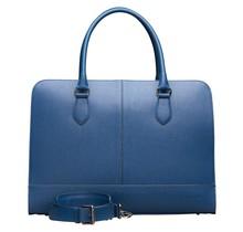 15.6 Inch Laptop Bag without Trolley Strap for Women - Saffinao Leather - Briefcase, Handbag, Messenger Bag - Blue
