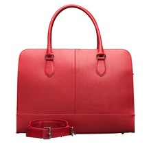 15.6 Inch Laptop Bag without Trolley Strap for Women - Saffinao Leather - Briefcase, Handbag, Messenger Bag - Cherry Red